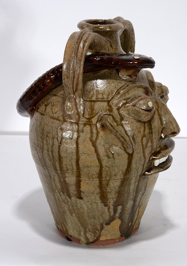 Walter Fleming. Face Jug With Snake. - 2