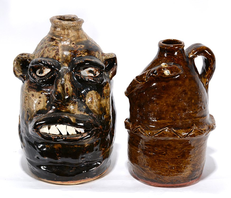 Marie Rogers. Face Jug With Large Teeth & Snake Jug.
