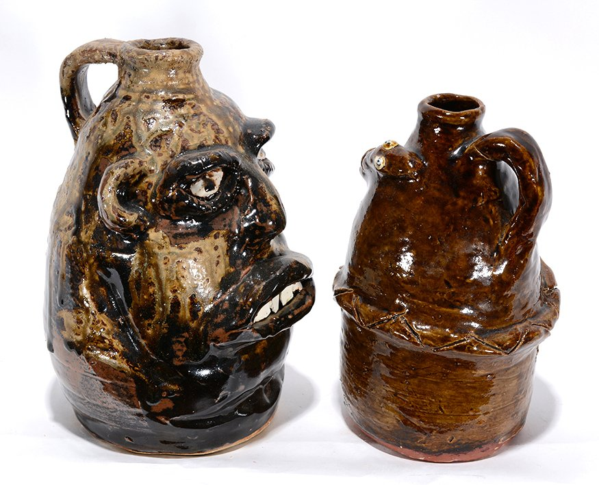 Marie Rogers. Face Jug With Large Teeth & Snake Jug. - 2