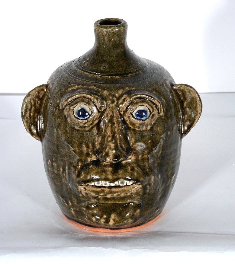 John Meaders. Face Jug with Blue Eyes, #20. - 2