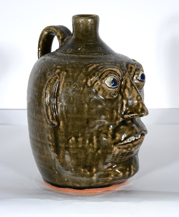 John Meaders. Face Jug with Blue Eyes, #20. - 3