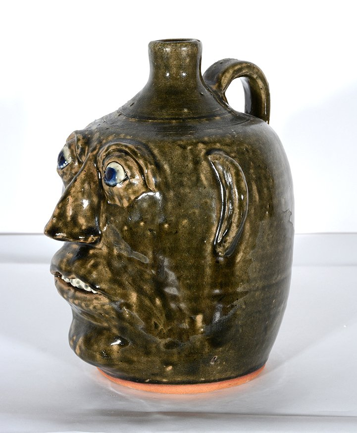 John Meaders. Face Jug with Blue Eyes, #20. - 5