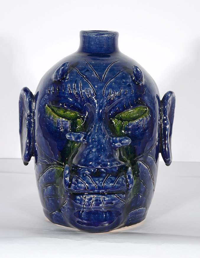 Edwin Meaders. Blue Devil Face Jug With Crying Green