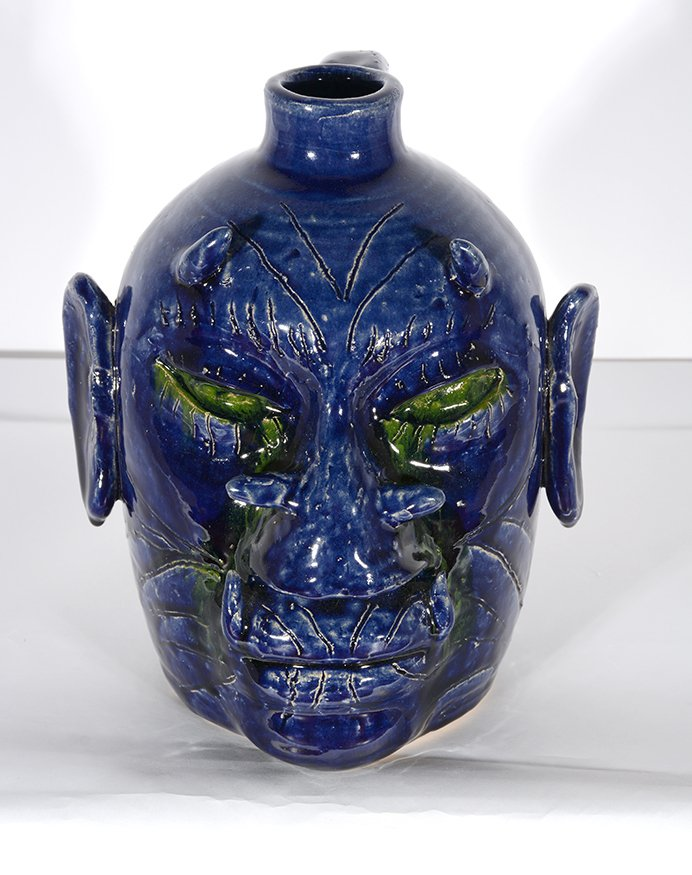 Edwin Meaders. Blue Devil Face Jug With Crying Green - 2