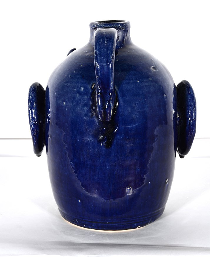 Edwin Meaders. Blue Devil Face Jug With Crying Green - 4