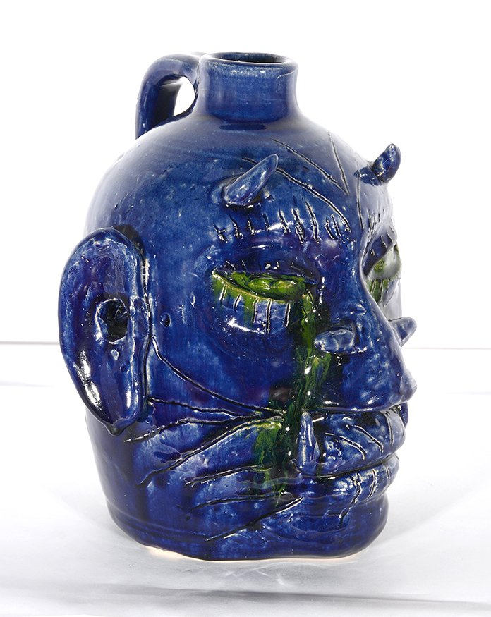 Edwin Meaders. Blue Devil Face Jug With Crying Green - 5