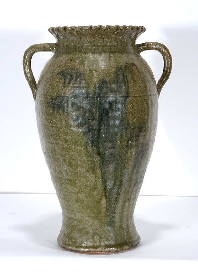 Lanier Meaders. Large Fluted Vase With Runny Glazed