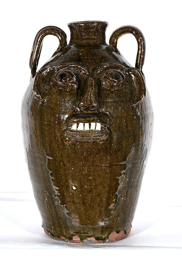 B.B. Craig. 17 Inch Ash Glaze Face Jug. - 2