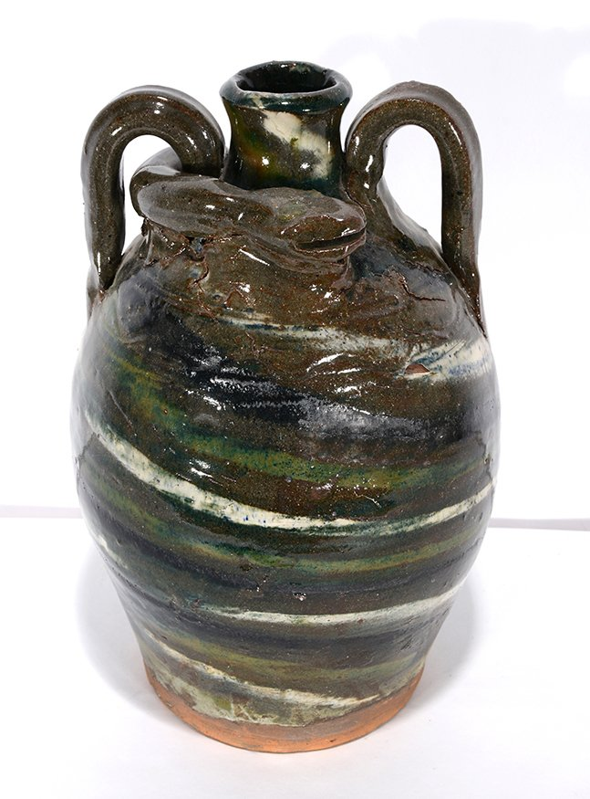 B.B. Craig. Three Color Swirl Snake Jug.