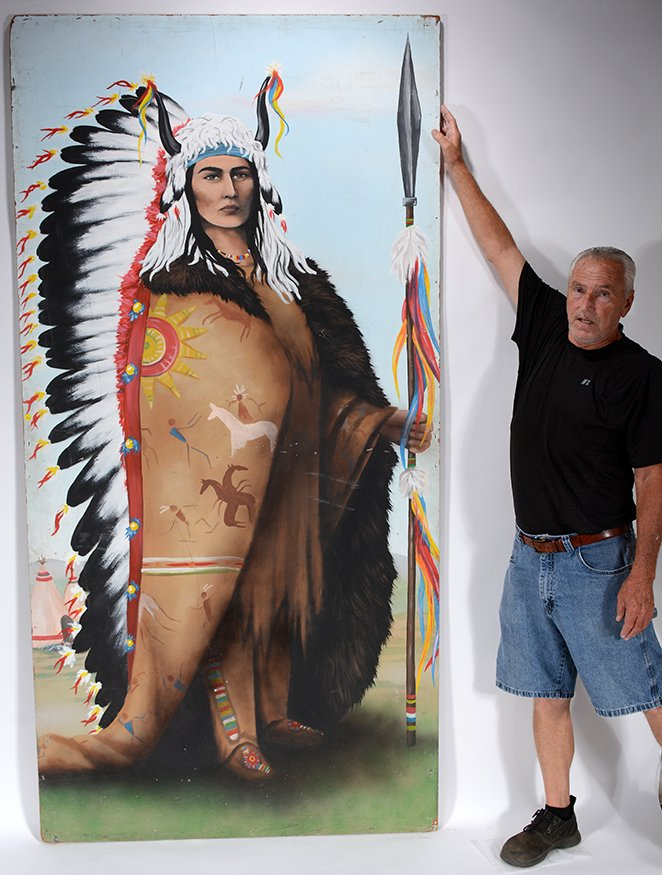 Old Western Carnival Side Show Sign. Indian Chief. - 2