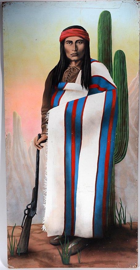 Old Western Carnival Side Show Sign. Navajo Warrior.