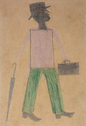 Bill Traylor. Purple And Green Man With Umbrella.