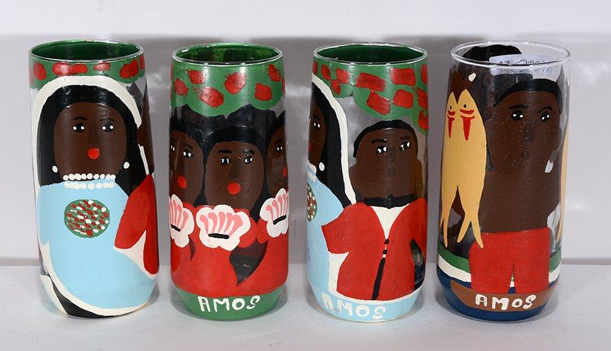 Amos Ferguson. Four Painted Drinking Glasses.