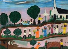 Clementine Hunter. Large Funeral Procession.
