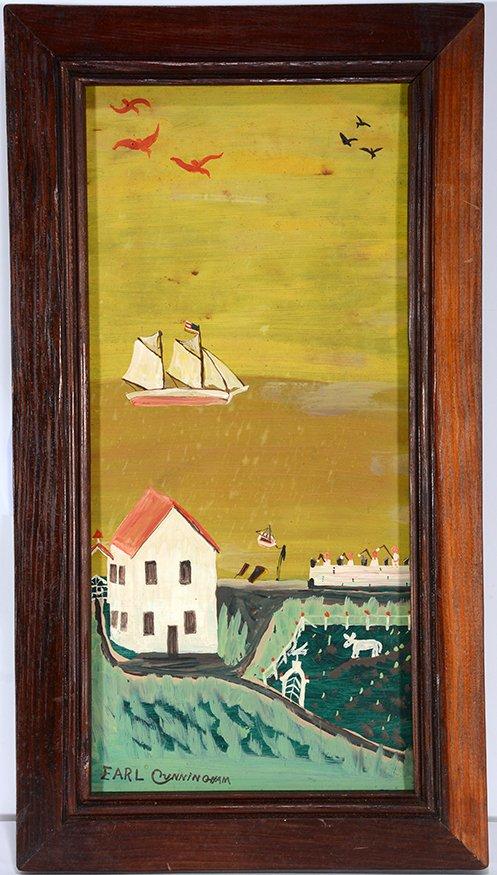 Earl Cunningham. Coastal Farm House Scene With Distant