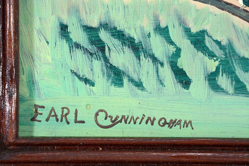 Earl Cunningham. Coastal Farm House Scene With Distant - 2