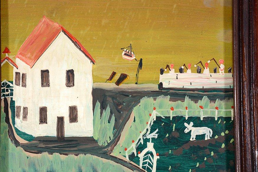 Earl Cunningham. Coastal Farm House Scene With Distant - 3