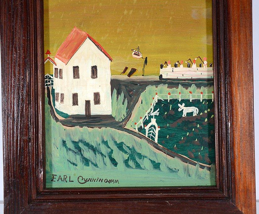 Earl Cunningham. Coastal Farm House Scene With Distant - 4