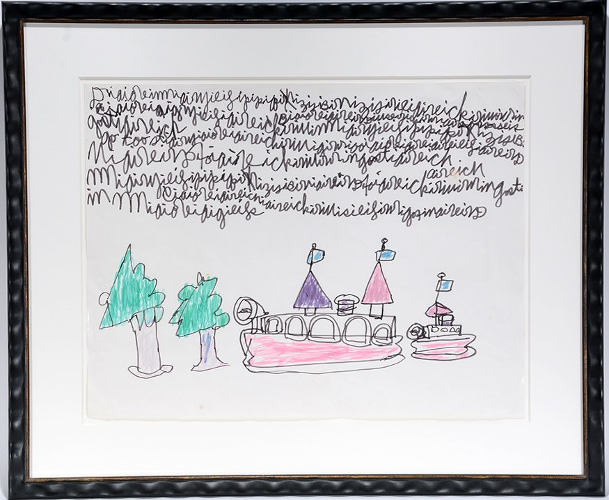 Dwight MacIntosh. Boat And Tree With Writing.