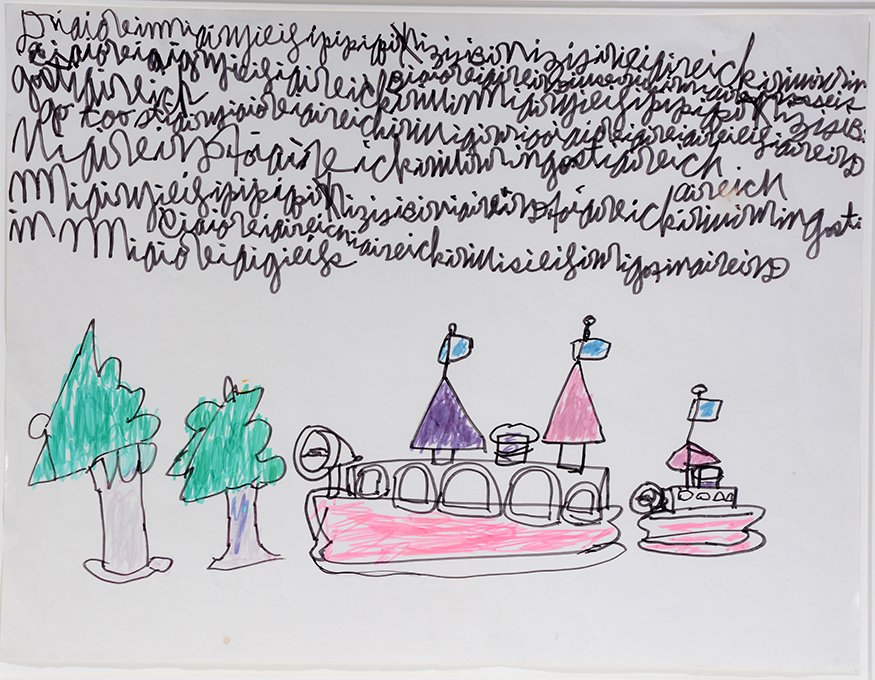 Dwight MacIntosh. Boat And Tree With Writing. - 2