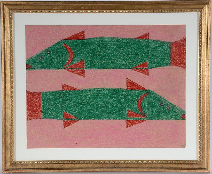 Eddie Arning. Two Fish.