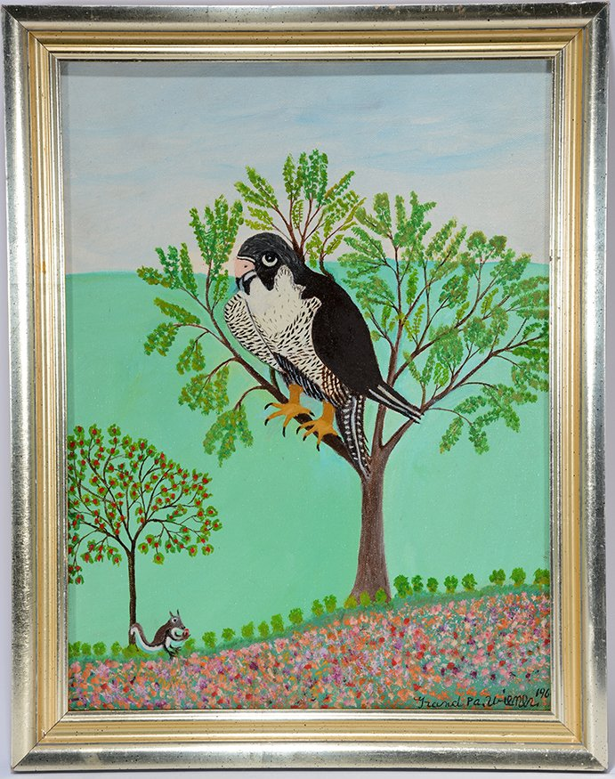 Isidor Pop Wiener. Falcon Eyeing A Squirrel.