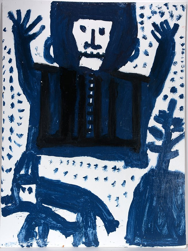 Mary T. Smith. Blue Figure With Dog. - 2