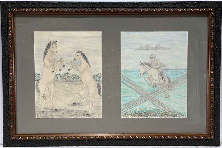 Lawrence Lebduska. Two Horse Drawings Framed Together.