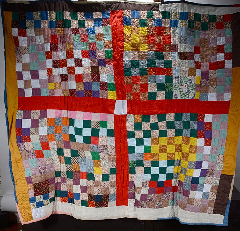 Louella Pettway. Big Cross With Postage Stamps Quilt.