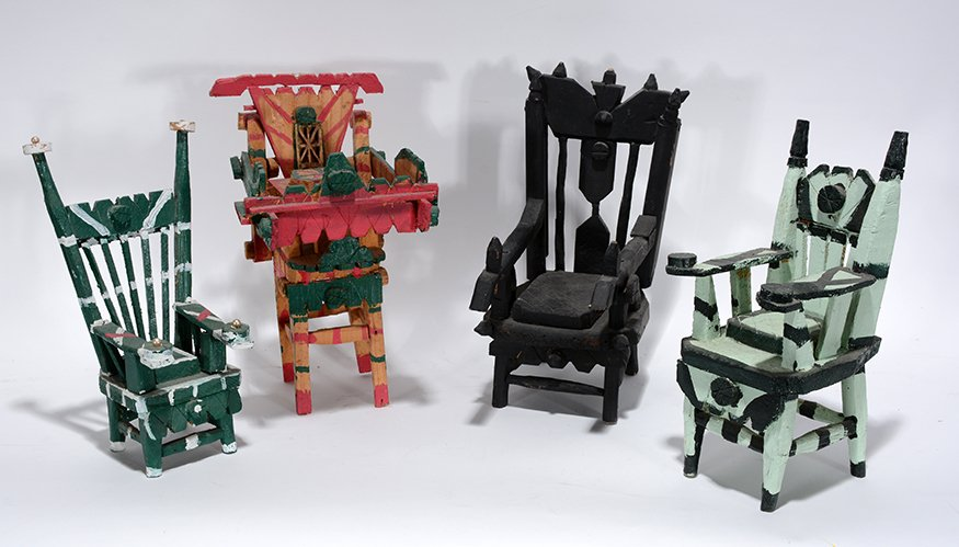 Willie Massey. Group of Four Mini Chairs.
