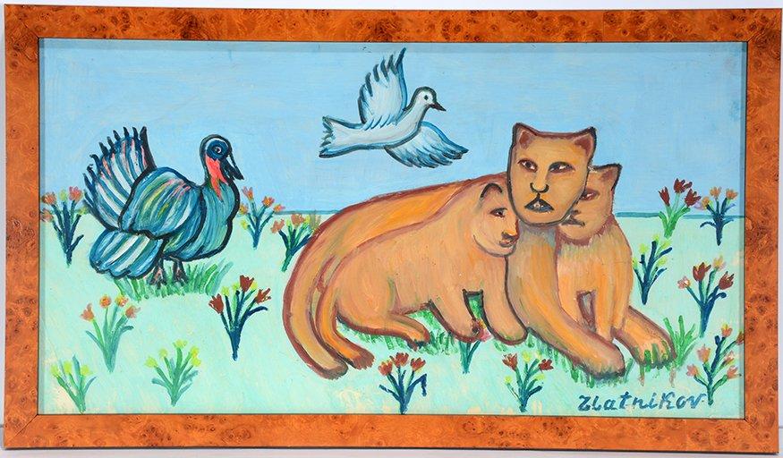 Josif Zlatnikov. Lioness And Cubs With Turkey.