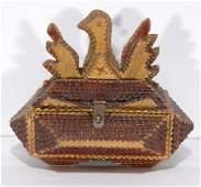 Tramp Art Eagle Lock Box Sewing Kit