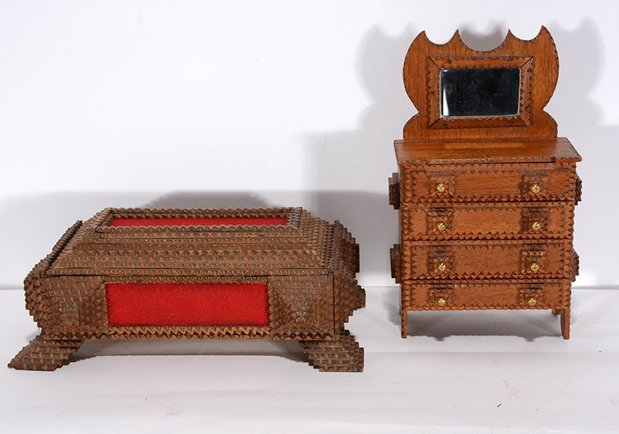 Tramp Art Secret Compartment Box & Mini Wardrobe.
