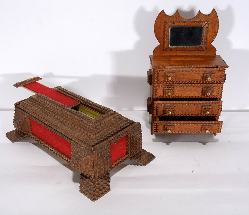 Tramp Art Secret Compartment Box & Mini Wardrobe. - 2