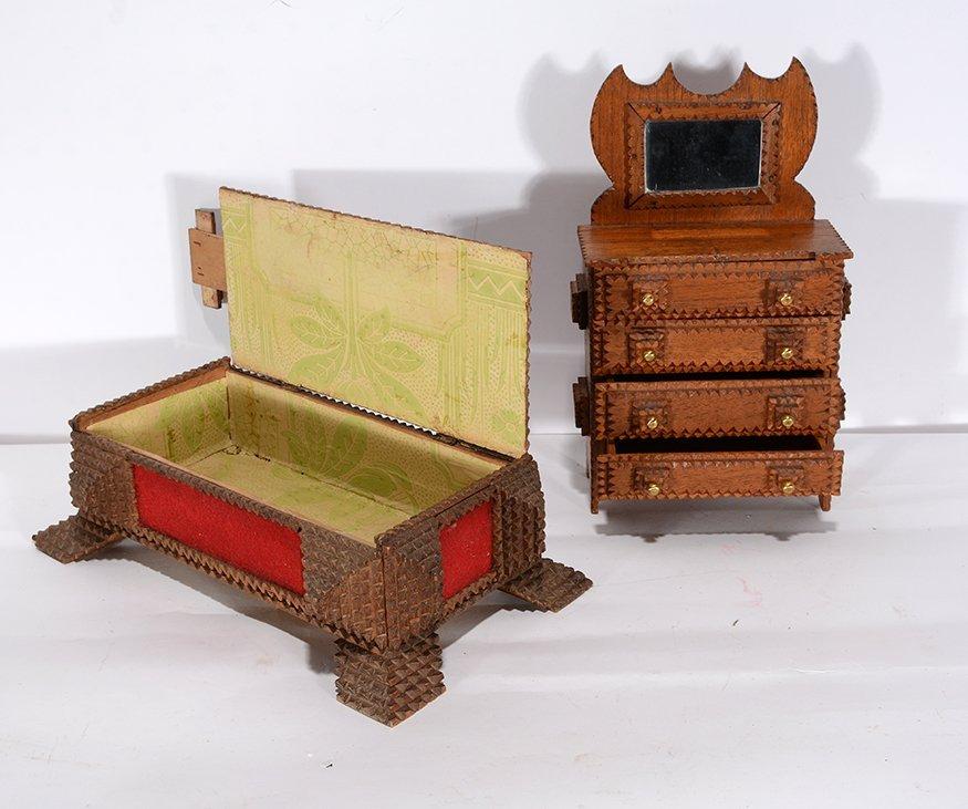 Tramp Art Secret Compartment Box & Mini Wardrobe. - 3