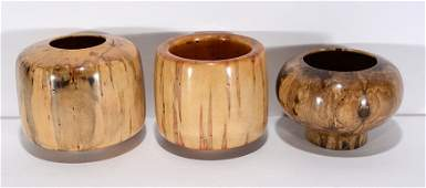 John Tomlin Three Turned Wooden Bowls