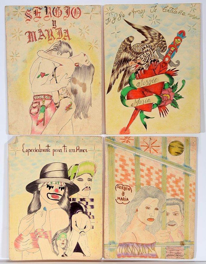 Sergio - Prison Artist Four Drawings.