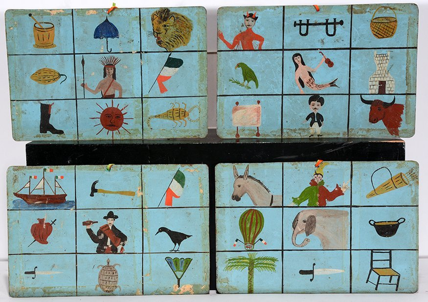 Set Of Four Mexican Lottery Retablos Images.