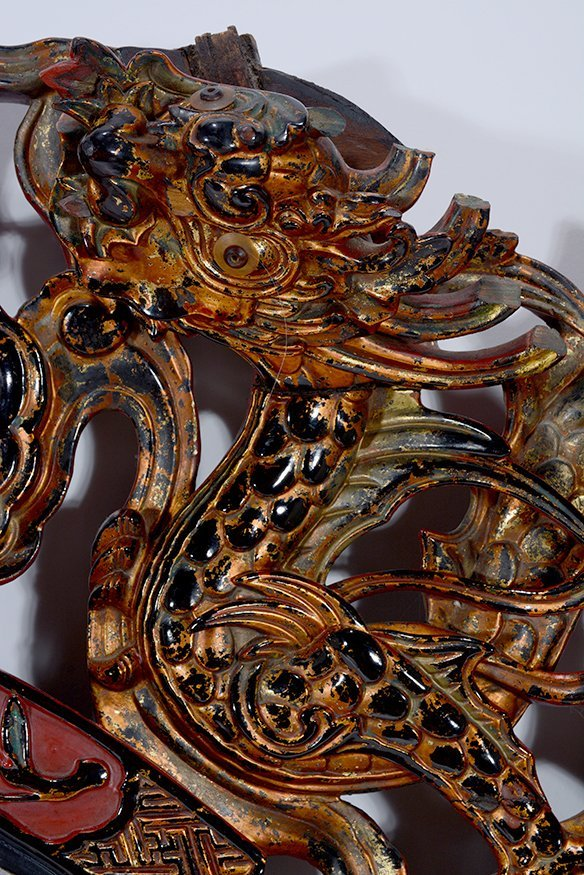 Early Chinese Street Business Sign Dragon With Pearl. - 3