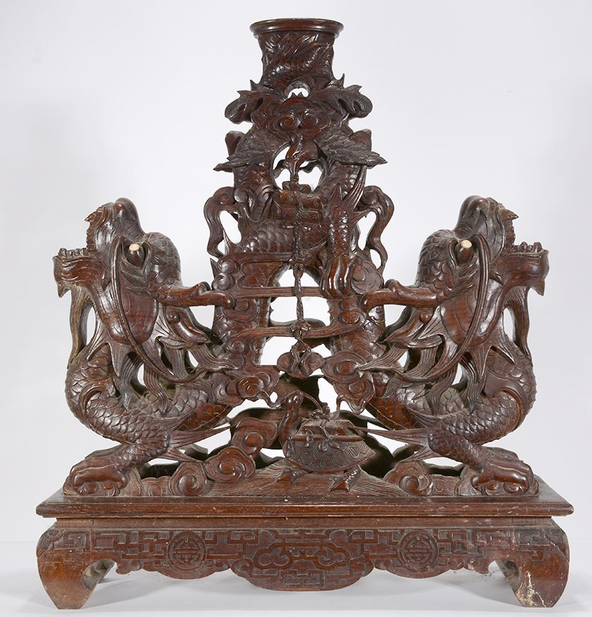 Chinese Double Headed Dragon Table Base. - 8