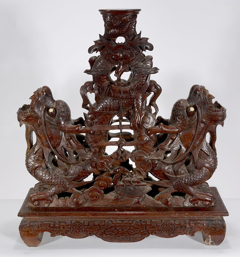 Chinese Double Headed Dragon Table Base. - 9