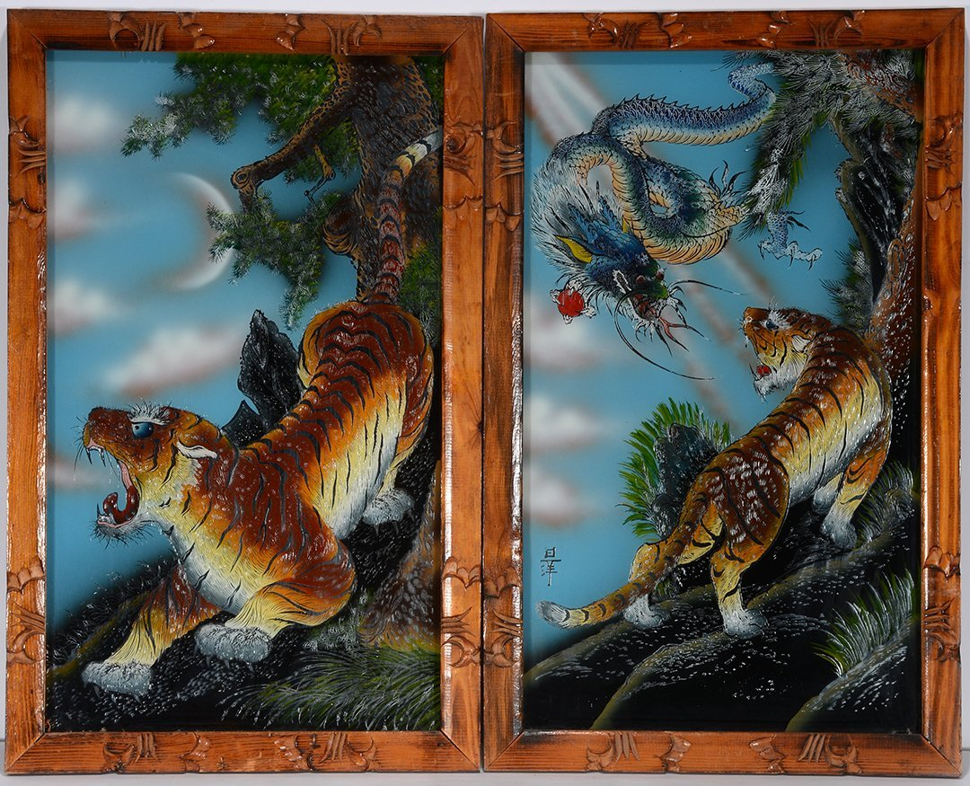 Chinese Reverse Painted Glass Pair Of Tigers.