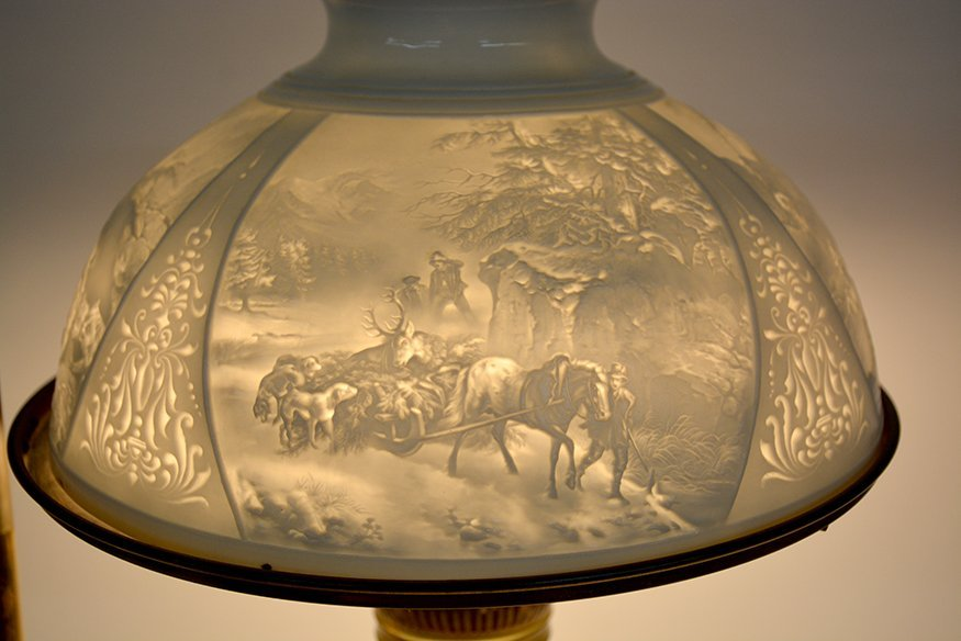 Student Brass Lamp With Hunting Scene Shade. - 10