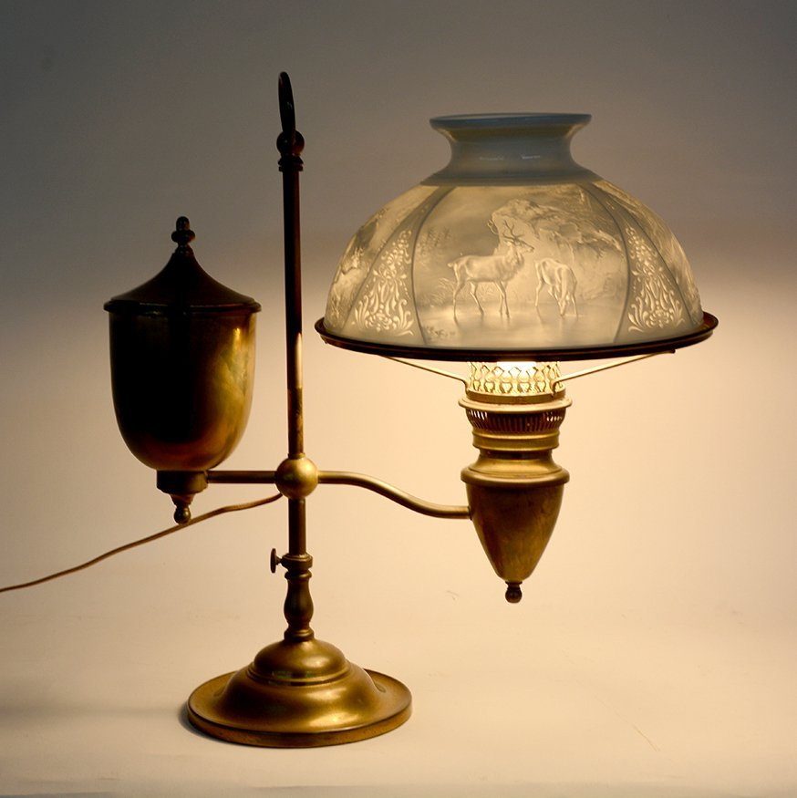 Student Brass Lamp With Hunting Scene Shade.