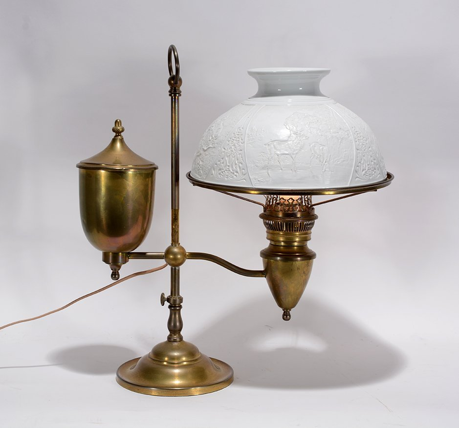 Student Brass Lamp With Hunting Scene Shade. - 2