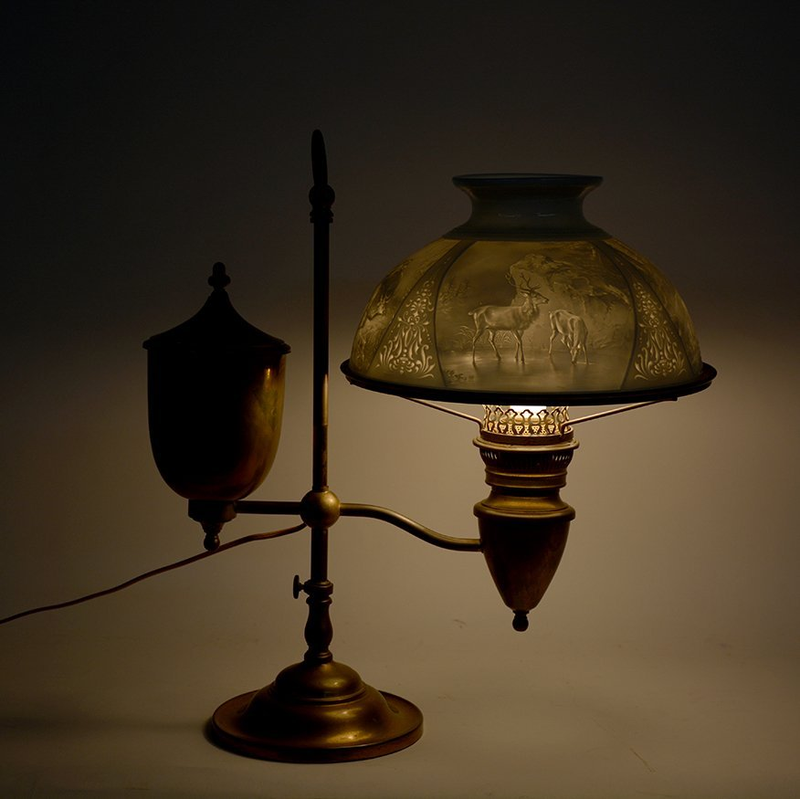 Student Brass Lamp With Hunting Scene Shade. - 4