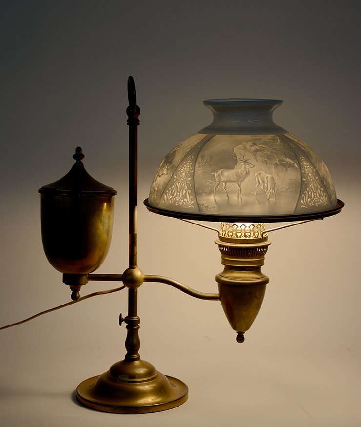 Student Brass Lamp With Hunting Scene Shade. - 5