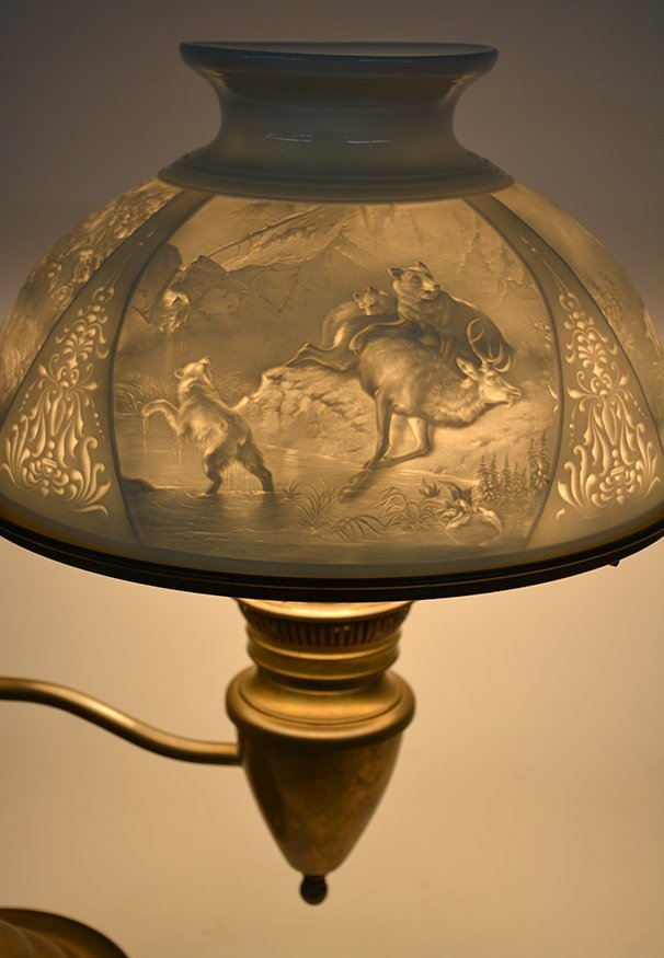 Student Brass Lamp With Hunting Scene Shade. - 6