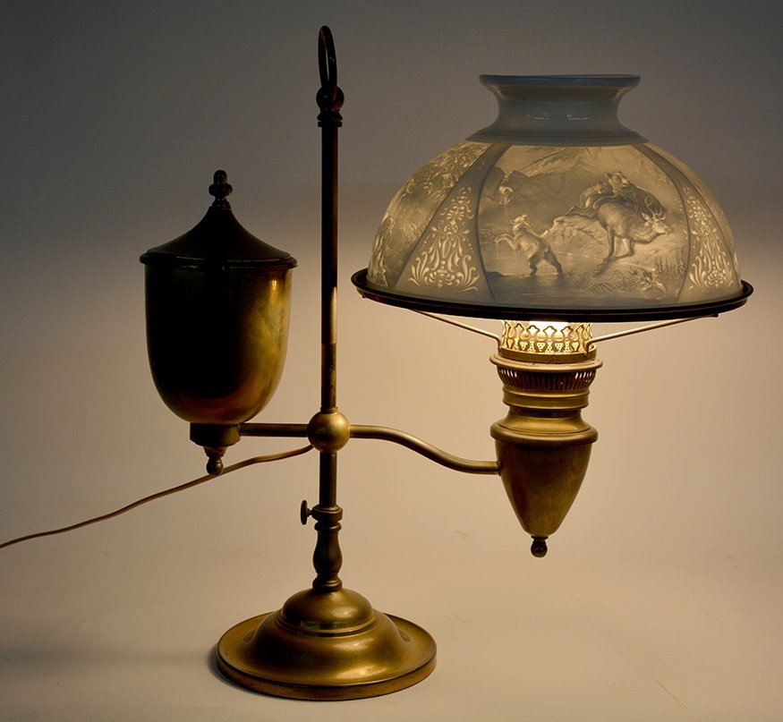Student Brass Lamp With Hunting Scene Shade. - 7