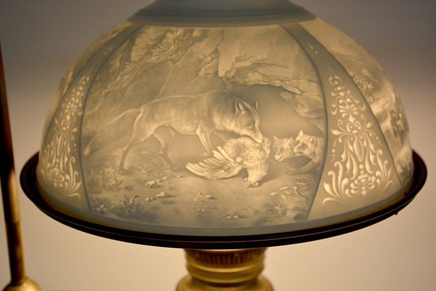 Student Brass Lamp With Hunting Scene Shade. - 8